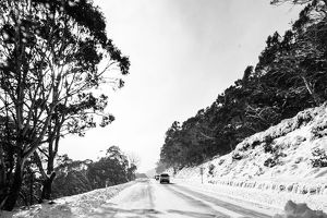 Driving through the snowy mountains of Thredbo