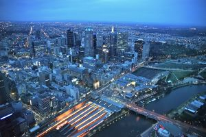 Dusk view of Central Melbourne from Eureka Tower