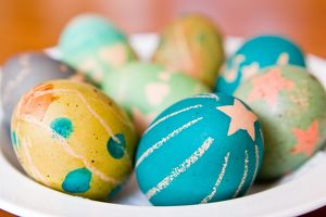 Hand dyed easter eggs horizontal