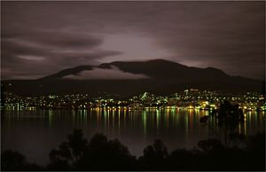 Hobart city at dawn as viewed from Rosny Point, southern Tasmania.
