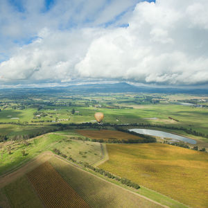 Hot air balloon and aerial view of Yarra Valley