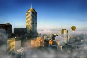 Hot Air Balloons on a misty morning in Melbourne