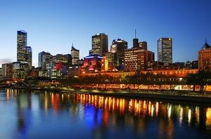 Melbourne city skyline and the Yarra River.