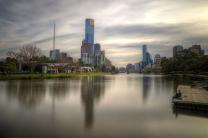 Melbourne Yarra river and city skyline at sunset