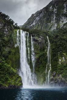 Milford Sound waterfall, New Zealand