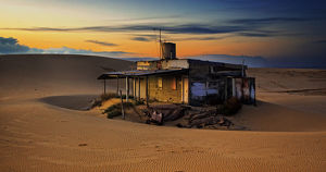 Old fishermans hut in the dunes