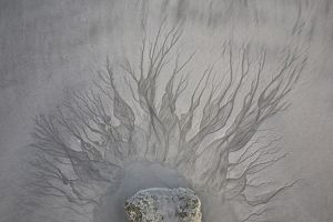 Patterns in sand from water flowing from a puddle, Broome, Western Australia, Australia