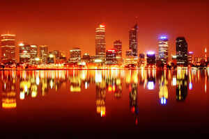 Perth City Night Skyline Reflected in the Swan River