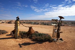 Along the road in opal mining area in Coober Pedy in the South Australian Outback.