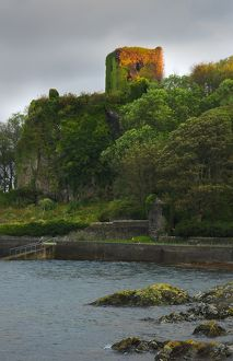 Ruins of Dunollie Castle from Oban Bay, Scotland