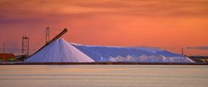 Salt Pile at Sunset