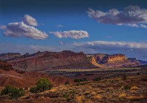 A scenic view at Capital Reef National Park in Utah, western United States.