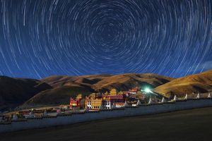 Star trails over Litang temple