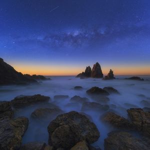 Starry night at Camel Rock beach, South coast of Australia