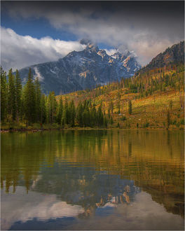 String lake during the Autumn season, a lovely small lake in the Grand Teton National Park