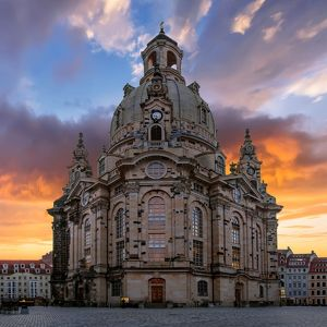 Sunrise with Dresden Frauenkirche, Dresden, Germany