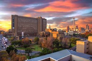 Sunset View of City Council Building and Hillbrow Tower (JG Strijdom Tower), Johannesburg