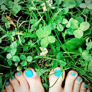 Toes in Green Clover Four Leaf Clover