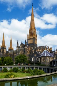 View of the Gothic Revival Central Tower of St Patrick's Cathedral, Melbourne