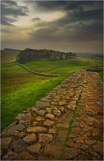 A view of Hadrian's wall in the Northumberland district of England.