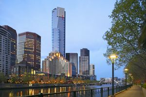 View of Melbourne with both riversides at dawn