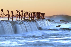 Water flowing over wall of Newcastle baths