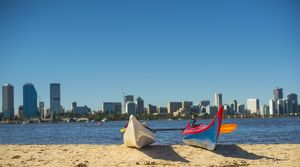Two water kayaks on south Perth shore, Western Australia