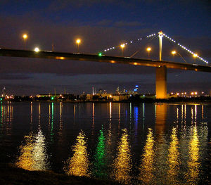 Westgate Bridge over the Yarra River at night