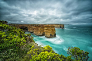 Wet Summer in Great Ocean Road, high cliffs in the early morning
