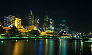Yarra River, Melbourne at night.