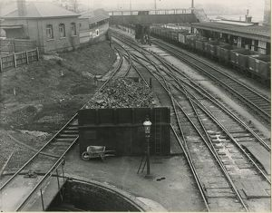 Bishops Stortford station, looking South, loco coal stage in foreground London Road