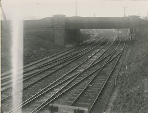 Bishop's Stortford, view north at London Bridge over the railway line. End of