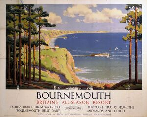 'Bourenmouth: Britain's All-Season Resort', BR poster, 1950s.