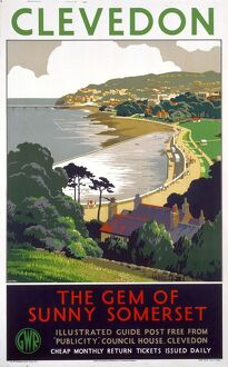 'Clevedon - The Gem of Sunny Somerset', GWR poster, 1939.