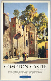'Compton Castle', BR (WR) poster, 1950s.