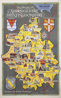 'The Counties of Cambridgeshire & Huntingdonshire', BR poster, 1948-1965.