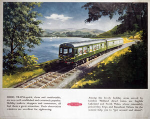 Diesel Train near Bassenthwaite Lake, BR (LMR) poster, c 1950s.