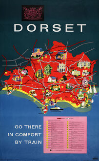 'Dorset - Go There in Comfort by Train', British Railways poster, 1963
