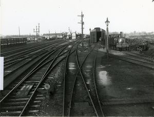 Ely station, general view of the station approaches. Corrugated iron clad engine shed