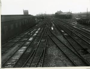 Ely station, looking southwards from station south box. Engine shed is to the left
