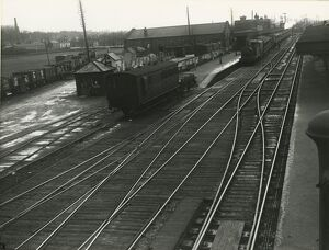 Ely station. The down platform from the Station South signal box, with the goods