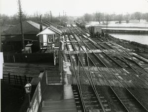Ely station, view looking towards the Station North signal box and coal sheds. On