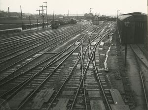 Ely station, view north into the station. Engine shed on the right, Station South