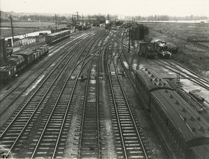 Ely station, view Northwards into the station, end of goods shed at the extreme left