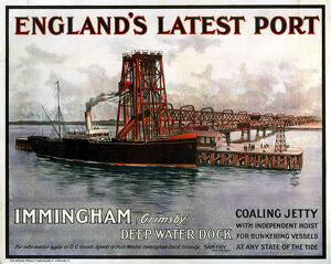 'England's Latest Port - Immingham', GCR poster, c 1930s.