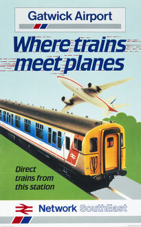 'Gatwick Airport - Where Trains Meet Planes', BR poster, 1987.