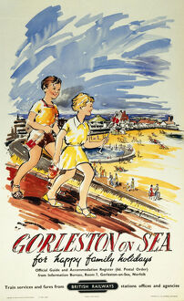 'Gorleston-on-Sea, for Happy Family Holidays', BR poster, 1957.