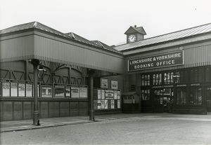 Halifax station, Lancashire and Yorkshire Railway. General view of the entrance to