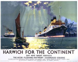 'Harwich for the Continent', LNER poster, 1940