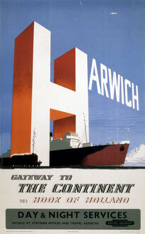 'Harwich, Gateway to the Continent', BR (ER) poster, 1956.